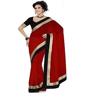 Ansu Fashion Red Color Border Work Faux Georgette Saree