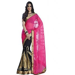 Ansu Fashion Pink And Black Color Embroidered Faux Georgette Saree