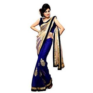 Ansu Fashion Blue Color Embriodered Faux Chiffon Net Saree