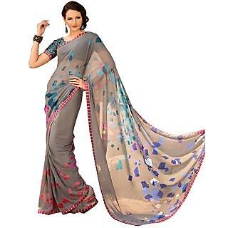 Tamanna Ronak Grey Georgette Designer Printed Saree
