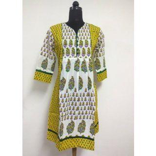 Designer Neck Printed Jaipuri Kurti Elegant Look Tunic Top