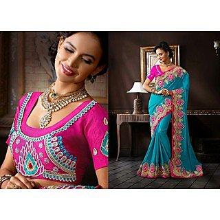 Designer Blue Jacquard Saree