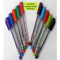 Set Of 10 Unique Colour Ball Pens