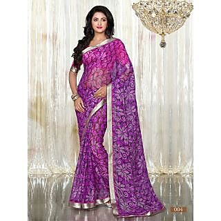 Purple Colour Printed Brasso Pattern Designer Saree With Designer Blouse Piece