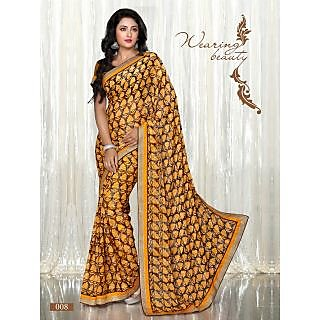 Yellow Colour Printed Brasso Pattern Designer Saree With Designer Blouse Piece