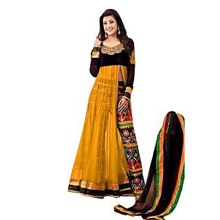 The New Designer Attractive Yellow And Black Anarkali Suit