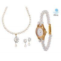Oleva Combo Set Of 2 Ladies White Pearl Pendant Set With Ladies Pearl Watch OHD 79