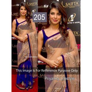 Priyanka In Chikoo Net Awesome Designer Saree