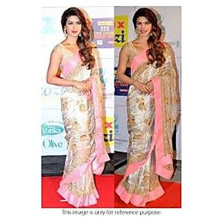 Richlady Fashion Priyanka Chopra Georgette Zari Work Beige & Pink Saree