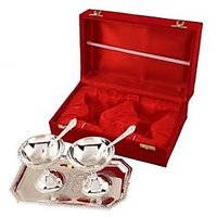 Best Quality Silver Plated Ice Cream Cups With Spoons And Tray - 75044050