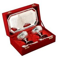 Best Quality Silver Plated Ice Cream Cups With Spoons And Tray - 75043922