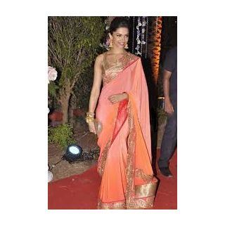 Richlady Fashion Deepika Padukone Crepe Border Work Orange & Pink Saree