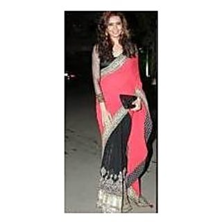 Richlady Fashin Karishma Tanna Georgette Border Work Black & Red Saree