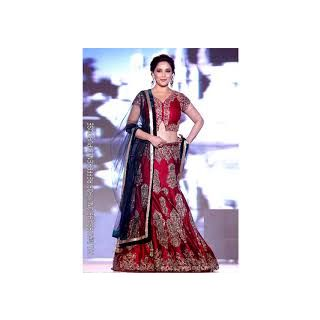 Richlady Fashion Madhuri Dixit Moss Patch Work Maroon Lehnga Choli