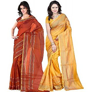 Carah Exclusive Pack Of 2 Cotton Silk Saree CRH-N279