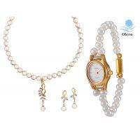 Oleva Combo Set Of 2 Ladies White Pearl Pendant Set With Ladies Pearl Watch OHD 69
