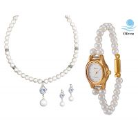 Oleva Combo Set Of 2 Ladies White Pearl Pendant Set With Ladies Pearl Watch OHD 85