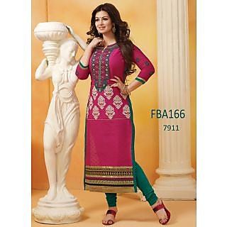 Fabboom New Fancy Pink & Green Indian Bollywood Designer Suits Dress Material