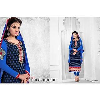 Stylish Designer Semi Stitched BLUE Chudidar Suit - 75063678