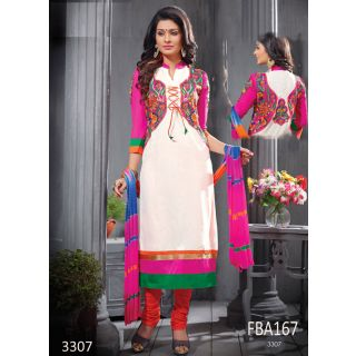 New Latest Fancy Designer White & Pink Embroidery Straight Cut Suits-Free Size