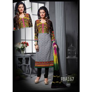 New Latest Fancy Designer Gray Cotton Embroidery Straight Cut Suits-Free Size