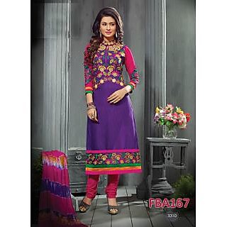 New Latest Fancy Designer Purple Cotton Embroidery Straight Cut Suits-Free Size