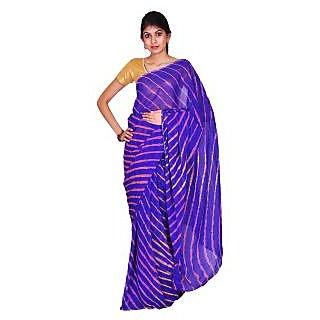 Purple Georgette Multicolor Leheriya Saree With Blouse