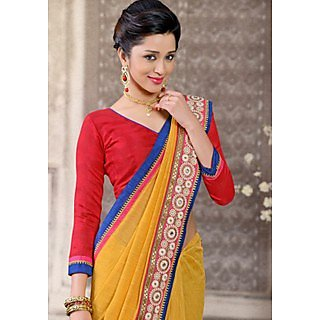 Shop Avenue Yellow Bhagalpuri Silk Zari Saree (WGS05033)