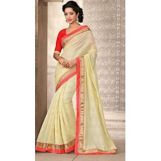 Shop Avenue Off White Bhagalpuri Silk Zari Saree (WGS05041)