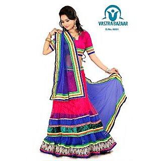 Vastrabazaar 9001b Pink & Blue  Embroidered Net 3pc Lehenga Choli