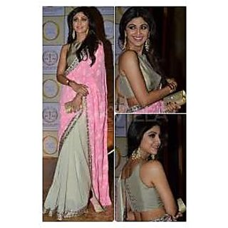 Richlady Fashion Shilpa Shetty Chiffon Border Work Pink & White Saree