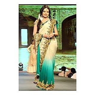 Richlady Fashion Bhagyashree In Sky Blue And White Saree