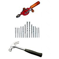 Homeproducts Iron Hand Drill Machine With Free Rubber Grip Hammer