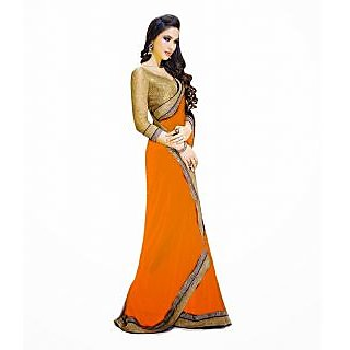 FabPandora Women's Orange Semi Chiffon Saree With Blouse Piece