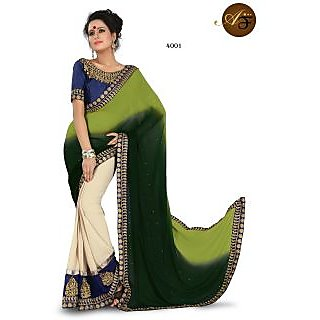 Atmiya Fhasion Peding+Half Half Saree With Golden Less Embroidery Work