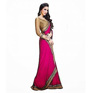 FabPandora Women's Pink Semi Chiffon Saree With Blouse Piece