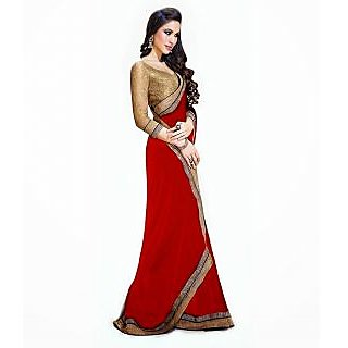 FabPandora Women's Red Semi Chiffon Saree With Blouse Piece - 75080654