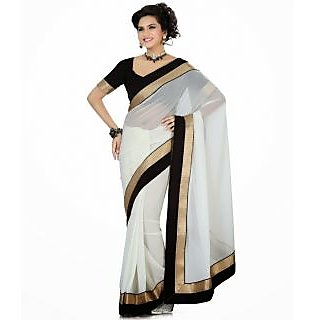 FabPandora Women's White Semi Chiffon Saree With Blouse Piece
