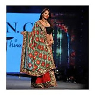 Richlady Fahion Neetu Chandra Georgette Border Work Red & Green Saree