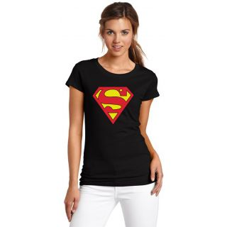Asia Edge Girls Round Neck Black Printed T-Shirt-Real Superman
