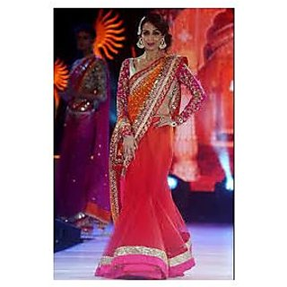 Richlady Fashion Malaika Arora Net Border Work Orange & Red Saree
