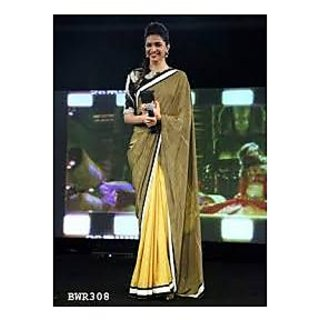 Richlady Fashion Deepika Padukone Net Green & Yellow Plain Saree