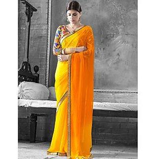 Yellow & Orange Color Georgette Saree