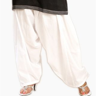 White Full Patiala Salwar Ethnic Style - FREE SIZE