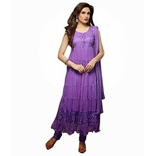FabPandora Exclusive Fancy Purple Designer Net & Braso Anarkali  Dress Material