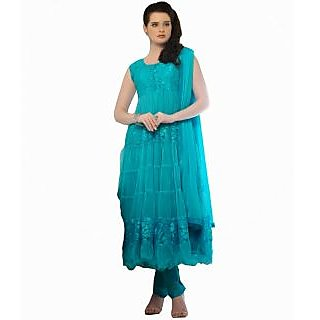 FabPandora Exclusive Fancy Blue Designer Net & Braso Anarkali  Dress Material