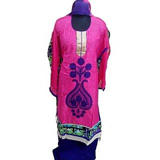 Women's Grace Pink And Purple Cotton Dress Material
