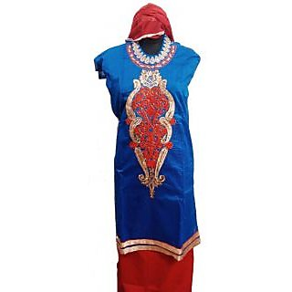 Women's Grace Blue And Red  Chanderi Dress Material