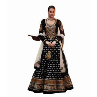 FabPandora Exclusive Fancy Designer Black Embroidered & Georgette Anarkali Dress