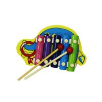 Cute Elephant Shape Multicolor Wooden Xylophone For Kids Musical Toy With 5 Not